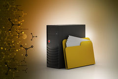 Cpu with file folder. In color background Stock Photos