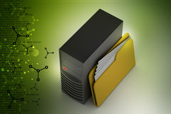 Cpu with file folder. In color background Stock Photo