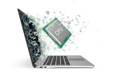 CPU fliegt heraus vom Laptop, der das Glas in Stücke zertrümmert Abbildung 3D Stockfotos