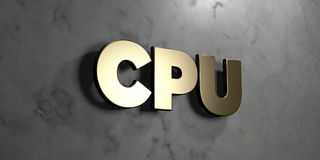 Cpu - Gold sign mounted on glossy marble wall  - 3D rendered royalty free stock illustration Royalty Free Stock Image