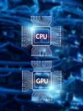 CPU and GPU Processor Chip over digital datacenter background.