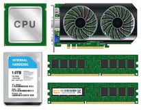 Cpu graphic card harddisk ram on white background Royalty Free Stock Image