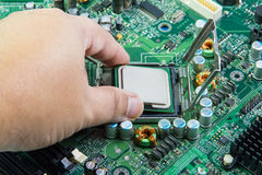CPU in hand before installation into the motherboard.  Royalty Free Stock Image