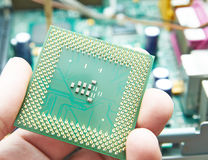 CPU in hand. Macro view of CPU processor in human hand with PC computer motherboard in background royalty free stock image