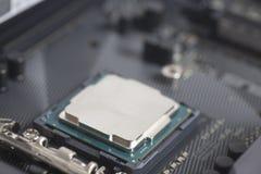 CPU i håligheten Intel LGA 1151 på moderkortdatorPC Royaltyfri Foto