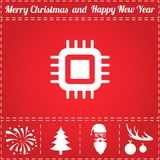 CPU Icon Vector. And bonus symbol for New Year - Santa Claus, Christmas Tree, Firework, Balls on deer antlers Stock Photo