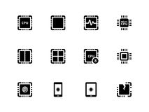 CPU icons set. (central processing unit). Royalty Free Stock Photo