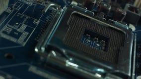 CPU, incavo, macro incavo del CPU Incavo del CPU le componenti principali di un computer video d archivio