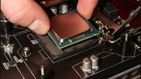 CPU-Installation stock video footage