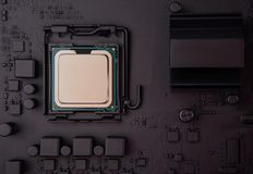 Top view cpu on motherboard stock photo