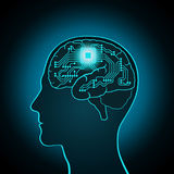 The CPU is installed in the brain, replacing, recovery the mind, consciousness, memory Stock Images
