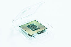 CPU interface - contacts. A photograph of a central processing unit lga1151 component or cpu interface or contacts while still in a plastic packaging Stock Photo