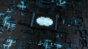 CPU 4K/conglomerado futuristas/AI/concepto de aprendizaje profundo almacen de metraje de vídeo