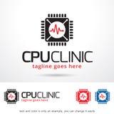 CPU-klinik Logo Template Design Vector Royaltyfri Fotografi