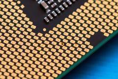 CPU-Kontakte sind geschweißter elektrischer Schock vom Kontakt schließt nicht Stockbilder