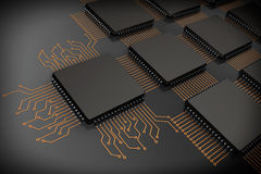 CPU Microchips as Circuit. On a black background royalty free stock photos