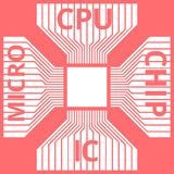 CPU, microprocesador, microchip, placa de circuito Icono plano Símbolo con el texto en fondo rojo Ilustración del vector libre illustration