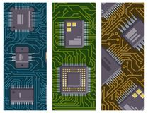 CPU microprocessors microchip brochure vector illustration hardware component equipment. CPU microprocessors microchip brochure vector illustration. Hardware Royalty Free Stock Images