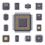 CPU microprocessors microchip vector illustration hardware component equipment. Royalty Free Stock Image