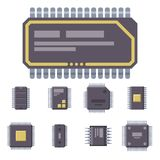 CPU microprocessors microchip vector illustration hardware component equipment. CPU microprocessors microchip isolated vector illustration. Hardware component Royalty Free Stock Image