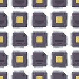 CPU microprocessors microchip vector illustration hardware seamless pattern background component equipment. Royalty Free Stock Images