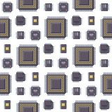 CPU microprocessors microchip vector illustration hardware seamless pattern background component equipment. CPU microprocessors microchip seamless pattern Stock Images