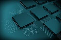CPU-mikrochipers som strömkretsen arkivbilder