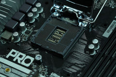 Cpu-motherboard contactdoos lga1151 Stock Foto
