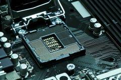 Cpu-motherboard contactdoos lga1151 Stock Foto's