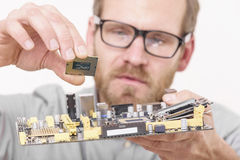 Cpu and motherboard installation Royalty Free Stock Images