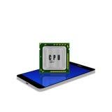 CPU multiconduttore moderno sullo smartphone, illustrazione del telefono cellulare Immagini Stock Libere da Diritti