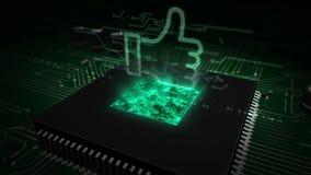 CPU ombord med handen som hologram vektor illustrationer