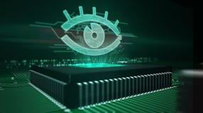 CPU ombord med spion?gonhologrammet royaltyfri fotografi