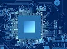 CPU-orienteringssändning i PCB-design med den blåa modellen arkivfoto
