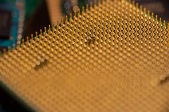 CPU Pin Grid Array with golden pins. Pin grid array on a CPU showing rows of golden pins Royalty Free Stock Photo