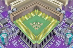 Cpu pins and circuit mother board Royalty Free Stock Image