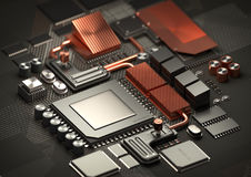 CPU Processing power and Motherboard Royalty Free Stock Images