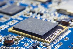 CPU Processing unit on electronic circuit board. Chipset with bl. Ank surface for writing texts or phrase as needed Royalty Free Stock Images