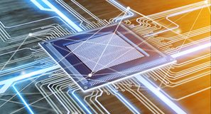 CPU Processor Chip And Network Connection On A Circuit Board - 3 Stock Images