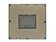 CPU processor close up from contacts isolated on a white background.  royalty free stock image