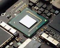 Cpu processor of an laptop. Closeup view royalty free stock photos