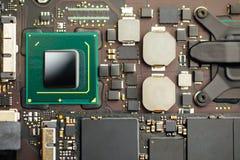 Cpu processor of an laptop. Closeup view stock images