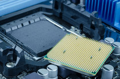 CPU processor. The main components of a computer motherboard Stock Photography