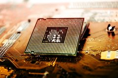 CPU Processor over Computer Motherboard stock image