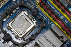 The CPU and RAM on the motherboard Gigabit Royalty Free Stock Images