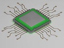 CPU realistico con incandescenza verde 3d rendono Immagine Stock Libera da Diritti