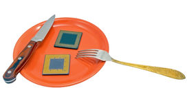 CPU on the red plate Stock Photography
