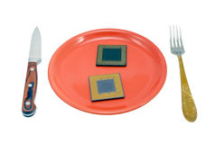 CPU on the red plate Stock Image