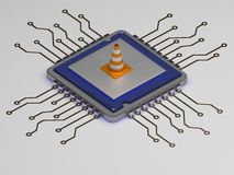 Cpu on repair, builder cone on icon. 3d render. Cpu on repair, builder cone on icon Royalty Free Stock Image