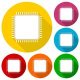 Cpu silhouette icons set Stock Photo